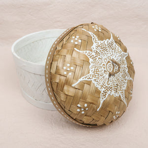 Bali boho chic woven round box painted white small size lid side