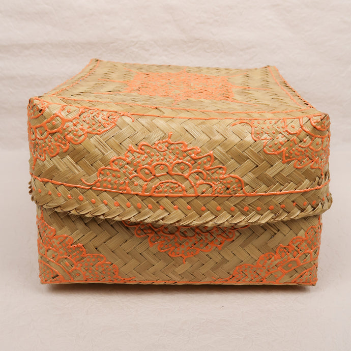 Bali boho chic woven square box painted orange medium size