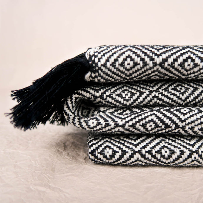 Black cotton blanket modern geometric pattern tassels detail