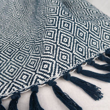 Load image into Gallery viewer, Navy blue cotton blanket modern geometric pattern tassels details tassels and pattern
