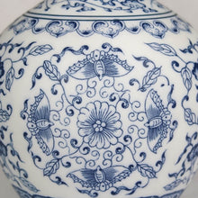 Load image into Gallery viewer, Blue and white Chinese ceramic vase flower detail