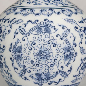 Blue and white Chinese ceramic vase flower detail