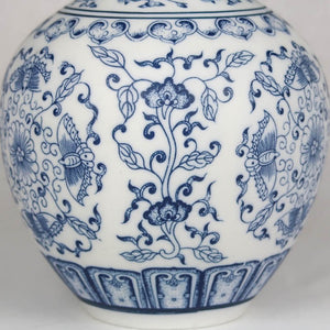 Blue and white Chinese ceramic vase detail