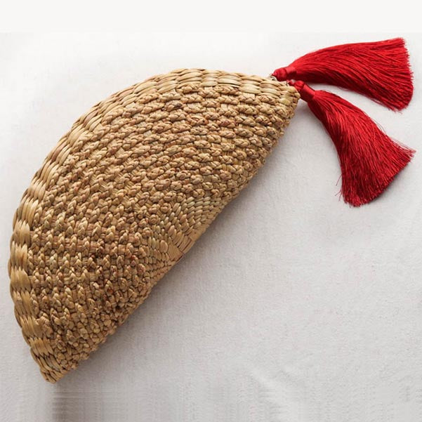 Round woven straw clutch half moon with tassels