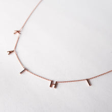 Load image into Gallery viewer, Customized Letter Necklace Rose Gold detail white background