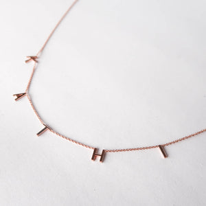 Customized Letter Necklace Rose Gold detail white background