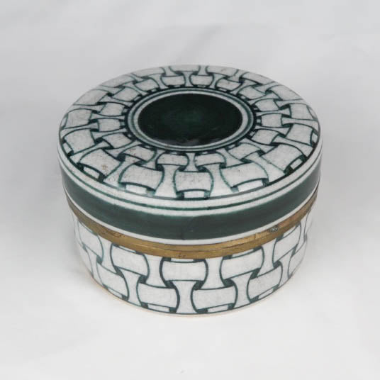 Ceramic round box Asian style green