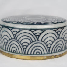 Load image into Gallery viewer, Chinese ceramic box white blue gold modern circles lid