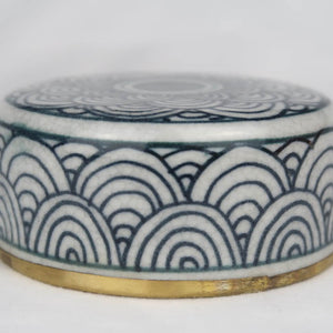 Chinese ceramic box white blue gold modern circles lid