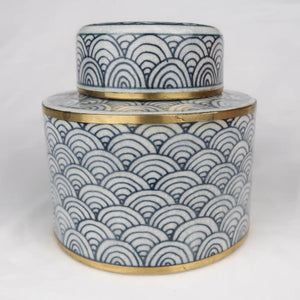 Chinese ceramic box white blue gold modern circles