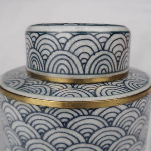 Chinese ceramic box white blue gold modern circles details