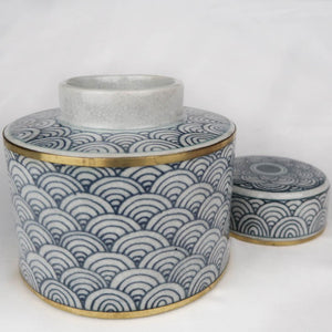 Chinese ceramic box white blue gold modern circles without lid