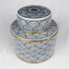 Load image into Gallery viewer, Chinese ceramic box white blue gold modern circles perspective