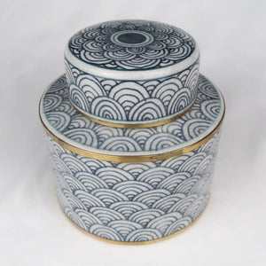 Chinese ceramic box white blue gold modern circles perspective