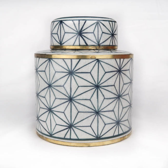 Chinese ceramic box modern white blue gold