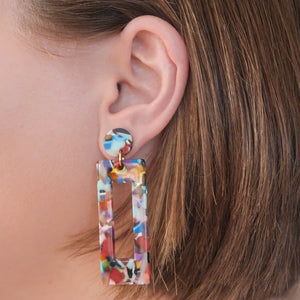 Eighties Square Dance Earrings Resin Square colourful on ear