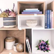 Load image into Gallery viewer, Bali Box Woven White Staged on Bookshelf