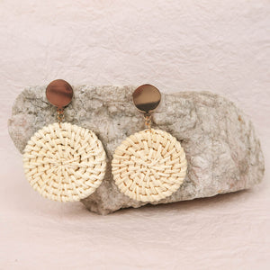 LOTTI RATTAN EARRINGS IVORY