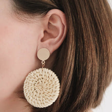 Load image into Gallery viewer, LOTTI RATTAN EARRINGS IVORY