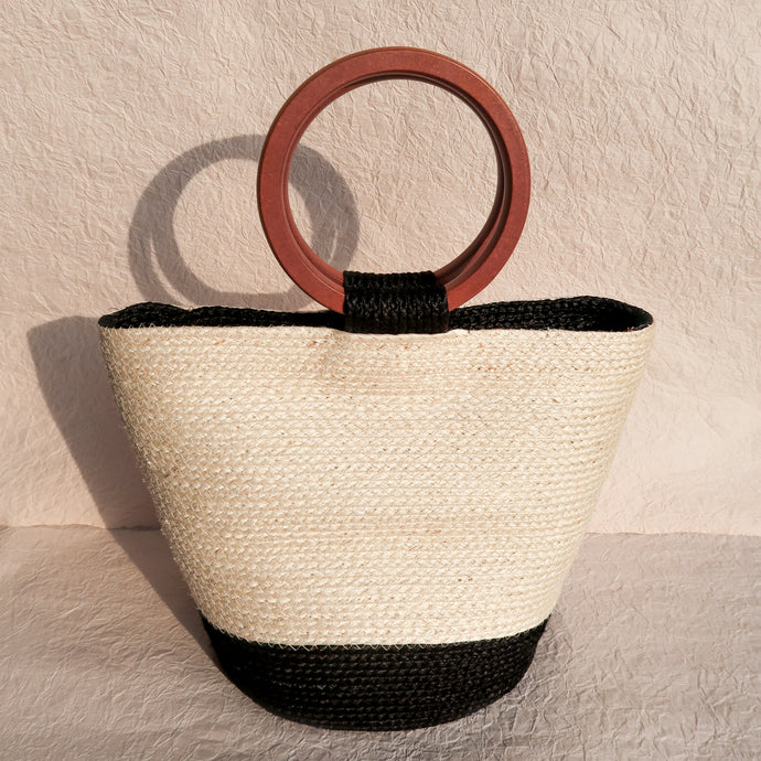 Louise Sisal Bag Creme and Black