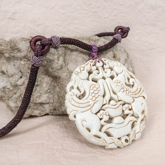 Chinese antique medallion necklace horses white purple