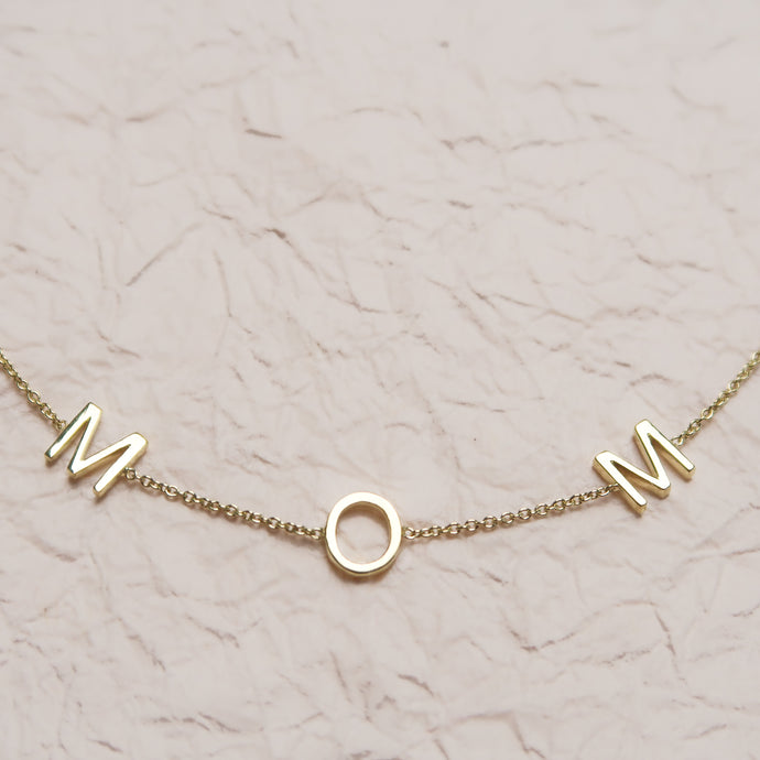 Customised Spaced Letter Bracelet Mom Gold