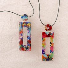 Load image into Gallery viewer, Eighties Square Dance Earrings Resin Square colourful