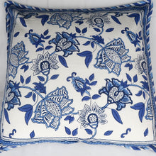 Load image into Gallery viewer, Indian cushion cover blue and white print