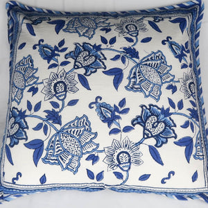 Indian cushion cover blue and white print
