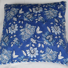 Load image into Gallery viewer, Indian cushion cover blue and white print back