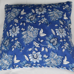 Indian cushion cover blue and white print back