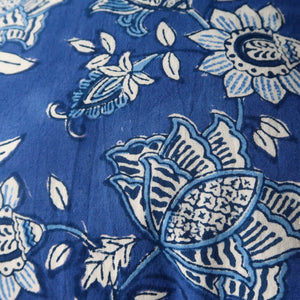 Indian cushion cover blue and white print back detail