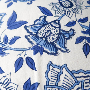 Indian cushion cover blue and white print detail