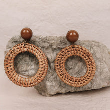 Load image into Gallery viewer, Lotti Rattan Hoop Earrings brown with brown pearl close-up