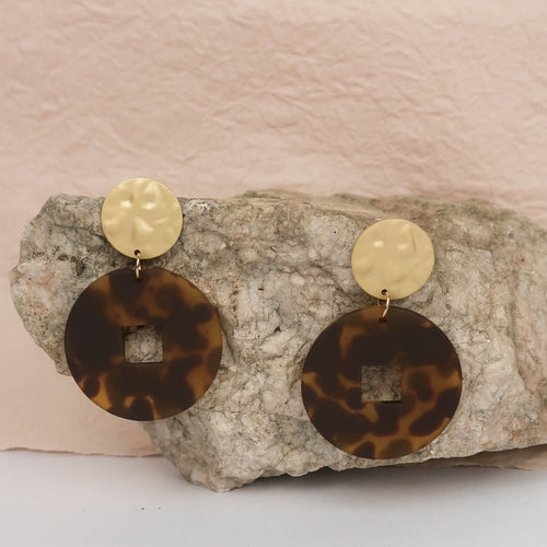 Resin Hoop Earrings animal print dark brown gold black stone