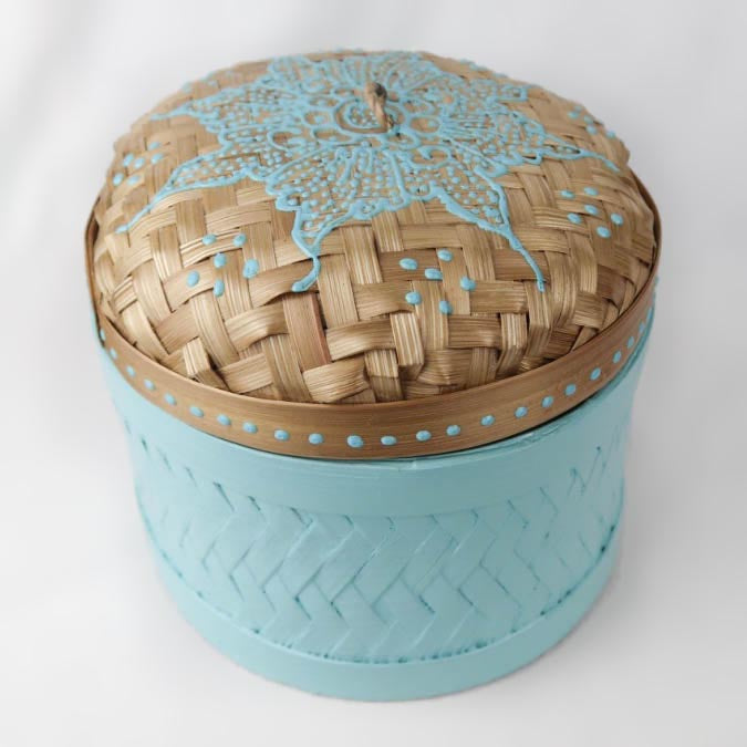 Bali hippie woven round box painted blue