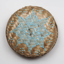 Load image into Gallery viewer, Bali hippie woven round box painted blue lid