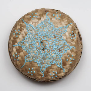 Bali hippie woven round box painted blue lid
