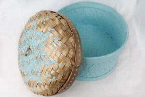 Bali hippie woven round box painted blue lid side
