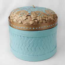 Load image into Gallery viewer, Bali hippie woven round box painted blue front