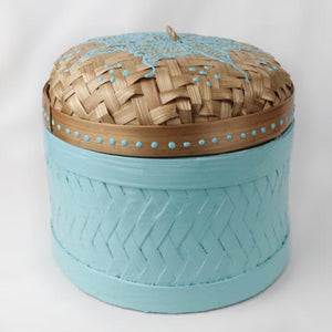 Bali hippie woven round box painted blue front