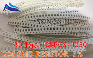 1250pcs Free shipping 50 Value 1206 SMD Resistor Kit (0R~10MR) 5% 100%NEW AND ORIGINAL