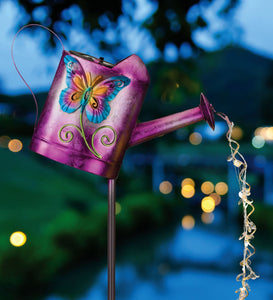 Regal Art & Gift Watering Can Solar Stake - Butterfly