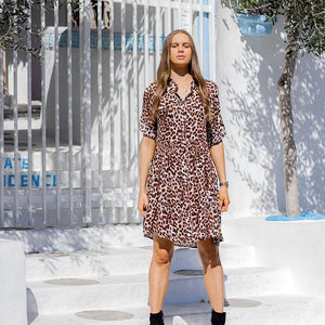 Zen Garden Leopard Shirt Dress