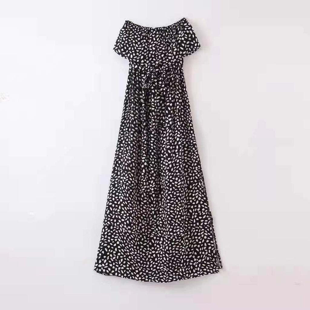 Pink Diamond Black and White Spotty Strapless Dress