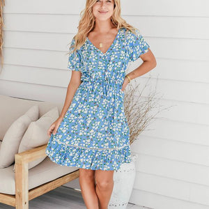 Zen Garden Short Blue Floral Dress