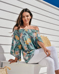Zen Garden Sage Floral Off the Shoulder Top