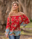 Boho Australia Red Floral Off The Shoulder Top