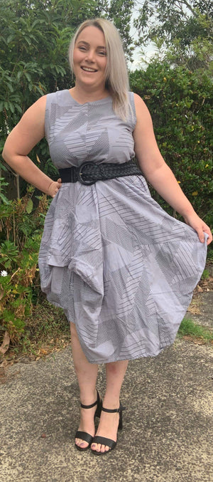 Whispers - Grey Print Dress
