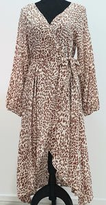 Pink Diamond - Tan Leopard Crossover Dress